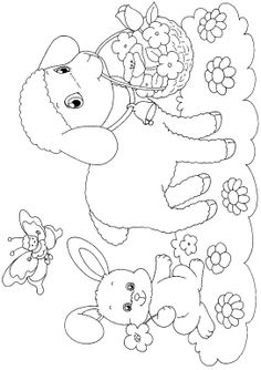Easter Lambs Coloring Pages