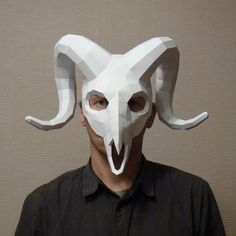 Ram Skull Mask Papercraft Halloween mask paper mask by Paperstatue