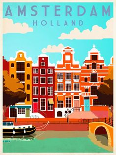 Voyage Amsterdam Holland Pays-Bas Canal par WillowSophiaAntiques