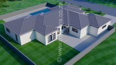4 Bedroom House Plan - My Building Plans South Africa 4 Bedroom House Plans, Family House Plans, My Building, Building Plans, House Plans South Africa, African House, Free House Plans, Home Design Floor Plans, Contemporary House Plans