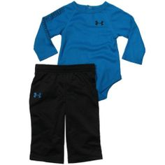 Under Armour Baby Boys Thermal Clothing Set (0-9 Months) Snorkel, 3-6 Months, Under Armour baby boys waffle thermal long sleeve top in with logo on front and sleeve. All Season Gear technical fabric construction., #Apparel, #Hoodies & Active