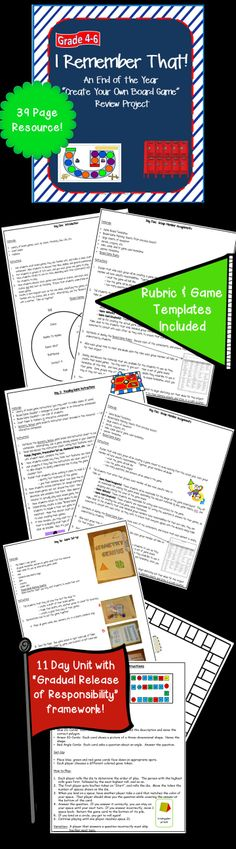 This Grades 4-6 resource contains 11 days of lesson plans & templates to help students create board games meant to review that year's content.