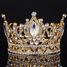 Big European Royal Crown Golden Rhinestone crown Tiara Super Large Quinceanera Crown Wedding hair Accessories Wholesale