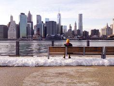 snow, bench, man, person