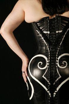 Full-length black corset dress created by custom San Francisco corset shop Dark Garden, at DarkGarden.com