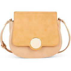 Sole Society Rowen Mini Crossbody W/ Circle Closure (67 CAD) ❤ liked on Polyvore featuring bags, handbags, shoulder bags, camel combo, beige shoulder bag, foldover crossbody, fold over purse, beige purse and mini cross body purse