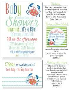 baby shower invites, boy baby shower, crabs, crab invites, baby shower ideas, Party Box Design, nautical baby shower