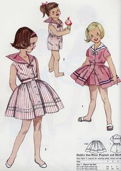 Sailor Suits for girl. Vintage Dress Patterns, Vintage Dresses, Vintage Outfits, Vintage Fashion, Sailor Outfits, Sailor Dress, Childrens Sewing Patterns, Clothing Patterns, Moda Peru