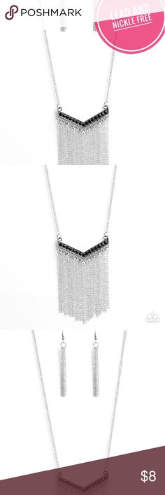 Long fringe necklace Long silver chain necklace that hits about the waist you can add extenders are available free of charge upon request. The necklace has a pendant with black crystals on it and chain fringe. The necklace also comes with silver chain fringe earrings too! Paparazzi Accessories Jewelry Necklaces