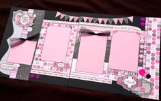 """12x12 Scrapbook Page Sugar & Spice Girl Themed Kit . DIY Kit or Pre-Made Double Page Layout. Girl, Baby Girl, Child Scrapbook Layout. Carta Bella """"Paris Girl"""" paperline."""