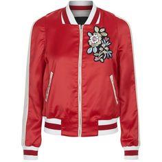 Maje Bob Bomber Jacket (€250) ❤ liked on Polyvore featuring outerwear, jackets, blouson jacket, sport jacket, red sport jacket, colorblock jackets and red jacket