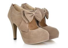 Work Women's Spring Pumps With Suede Solid Color and Bows Design (CAMEL,39) China Wholesale - Sammydress.com