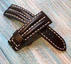 Heavy leather black watch strap handmade by VladislavKostetskyi