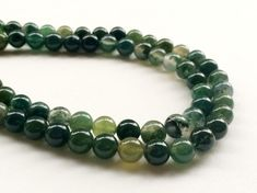 WHOLESALE 5 Strands Green Moss Agate Beads by gemsforjewels