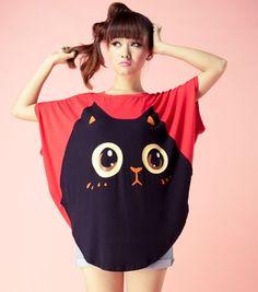 New Korean Kitty Cat Sweet Cute Top Sweater Spring Summer Blouse Shirt Tshirt | eBay