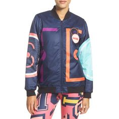 Women's Adidas By Stella Mccartney 'stellasport' Climalite Bomber... ($115) ❤ liked on Polyvore featuring night indigo and adidas