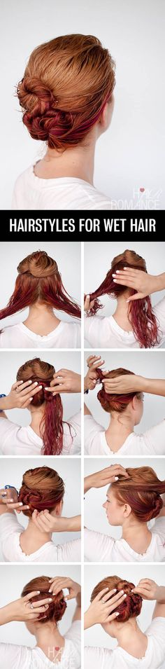 Keep your hair wet and style it into this double bun. | 30 No-Heat Hairstyle Ideas To Get You Through Summer