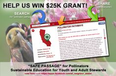 """[PLEASE VOTE FOR POLLINATOR PATHWAYS] We need your votes to win a grant for $25K to provide a """"safe passage"""" for pollinators in the inner city. The program also educates youth and adult garden stewards and helps to green the City of Oakland. We need to be in the top 40. It takes less than 30 seconds - vote 10x daily. Thanks!  https://apps.facebook.com/sf_neighbor_assist  (Note: app is safe and will not spam your friends)"""