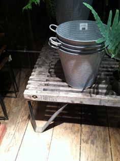 Plant table idea, Terrain Store just outside of Philly.  Love the galvanized buckets!