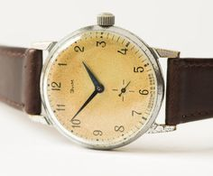 Soviet wristwatch ZIM vintage men's watch sandy by SovietEra, $63.00
