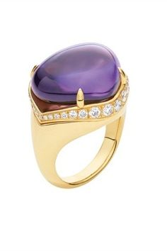 Bulgari, amethyst, yellow gold and pavé diamond ring from the 'Mediterranean Eden' collection.