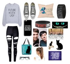 """""""cat lady"""" by yinyang-bestfriend-goals ❤ liked on Polyvore featuring WithChic, Converse, Disney, Thumbprintz, NIKE and Casetify"""
