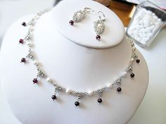 Sterling silver with natural Garnet semi-precious gemstones and white freshwater pearls- necklace and earrings set