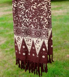 Aboriginal ART Batik Scarf Wrap Sarong Earth Tones Brown Beige Swimsuit Cover  #Scarf #Anytime