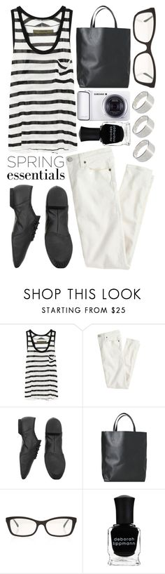 """""""Spring Essentials"""" by helenevlacho ❤ liked on Polyvore featuring Enza Costa, J.Crew, Bloch, Angela & Roi, Chanel, Samsung, Deborah Lippmann, ASOS, white and black"""