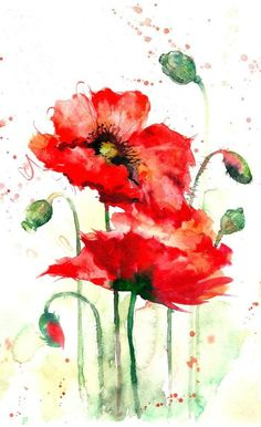 great from each other canvas painting summer, flower painting, painting bedroom, chalked paint, painting rocks ideas. Check out other wonderful examples Watercolor Poppies, Watercolor Cards, Abstract Watercolor, Watercolor Illustration, Poppies Painting, Poppy Flower Painting, Watercolor Sunflower, Watercolor Ideas, Art Sur Toile
