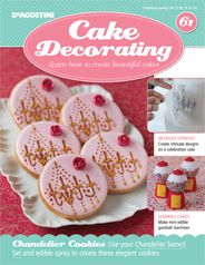 #CakeDecorating Make these beautiful #Chandelier #Cookies! #Stencil and edible spray! #Issue61 http://shop.deagostini.co.uk/cake-decorating-issue-61.html