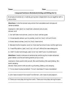 Circing and Writing Compound Sentences Worksheet