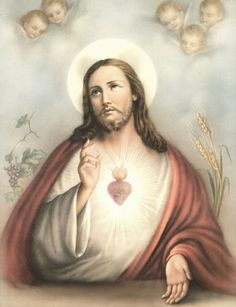 """8"""" x 10"""" Catholic Print Picture Sacred Heart of Jesus Printed in Italy 