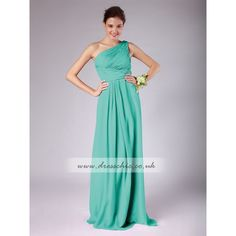 Pantone Turquoise Chiffon One Shoulder Bridesmaid Dress Long