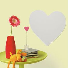 Heart peel and stick mirror