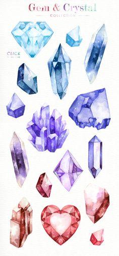 Illustration Cristal, Digital Illustration, Art Inspo, Gem Drawing, Crystal Drawing, Crystal Tattoo, Arte Sketchbook, Art Reference, Fantasy Art