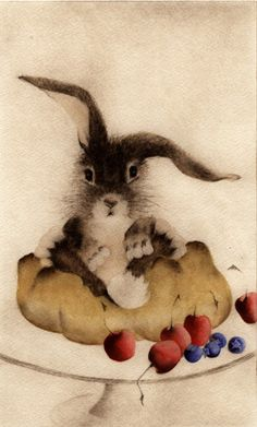 """Petit Lapin en Croûte ~ CC Barton from the series ~ Mastering the """"Art"""" of French Cooking ~ Some Bunny Loves You, Small Rabbit, Rabbit Art, Rabbit Illustration, Illustration Art, Fluffy Bunny, Bun Bun, Coelho, Bunny Art"""