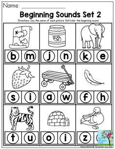 Beginning Sounds- Say the name of each picture and dot the beginning sound. Reading begins with mastering the phonetic sounds of the letters. Preschool Letters, Learning Letters, Alphabet Activities, Preschool Learning, Kindergarten Worksheets, In Kindergarten, Preschool Activities, Beginning Sounds Kindergarten, Letter Sound Activities