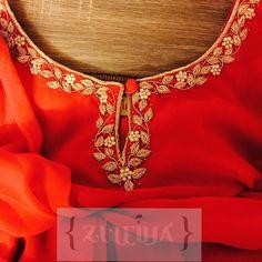 Embroidery Suits Punjabi, Embroidery On Kurtis, Kurti Embroidery Design, Hand Work Embroidery, Zardosi Embroidery, Hand Embroidery Designs, Indian Embroidery, Embroidery Art, Kurta Designs