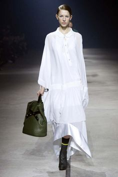 Bright white collared dress with lace hem at Kenzo F/W 2015