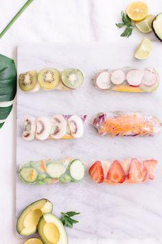 The Best Fruity Spring Rolls (Nutrition Stripped) Vegan Snacks, Easy Snacks, Healthy Snacks, Healthy Eating, Clean Eating, Veggie Recipes, Vegetarian Recipes, Snack Recipes, Going Vegetarian