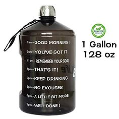 27c46e02bb QuiFit 1 Gallon Water Bottle Reusable Leak-Proof Drinking Water Jug for  Outdoor Camping Hiking BPA Free Plastic Sports Bottle(Black)