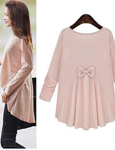 Stylich casual long sleeve back bow women shirt in light pink beige colors at only $12.59. Enjoy up to 80% OFF on everything