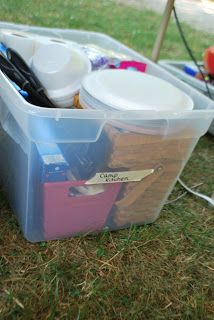 Leading Them To The Rock : Family Camping-Packing Lists & Organzaition  Put a list on outside of box to know whats inside and what needs to be added b4 going again