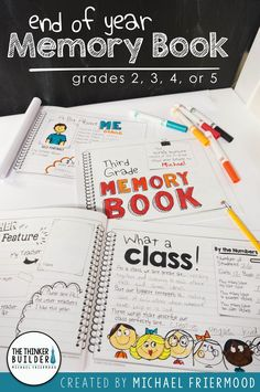 An End of Year Memory Book designed in an engaging notebook/journal style… End Of School Year, End Of Year, School Fun, School Days, School Stuff, Year 6, School Teacher, School Classroom, Classroom Activities