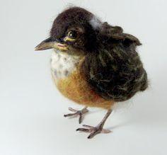 Needle felted baby robin by Robin Joy Andreae: January 2010