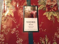 Waverly Home Tablecloth 100% Cotton Floral Red Vintage Roses 70 X 108 # Waverly