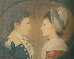 """Daniel Taylor... and... Elinor Low, [servants to] John Frederick Sackville, 3rd Duke of Dorset... It was painted in 1783 by Arnold Almond and is included in John Styles book, The Dress of the People."" From the Austenonly blog.  Note Elinor Low's cap - silk ribbon and lace - and hairstyle. Fringe of bangs in front and wisps or curls showing under the cap in back. Hair not drawn straight back from the forehead, but down in front of or over the ears. Probably height on top. The shape of the cap..."