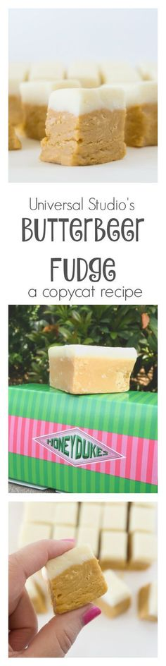 This delicious Butterbeer Fudge with a hint of rum is the perfect copycat version of the Honeydukes treat at Universal Studios. (drinks with rum recipes) Fudge Recipes, Candy Recipes, Sweet Recipes, Dessert Recipes, Fudge Flavors, Rum Recipes, Copycat Recipes, Just Desserts, Delicious Desserts