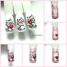 Image may contain: one or more people Punk Nails, Cat Nails, Rose Nail Art, Butterfly Nail Art, Nail Art Designs Videos, Cute Nail Designs, Mickey Nails, Matte Pink Nails, Animal Nail Art